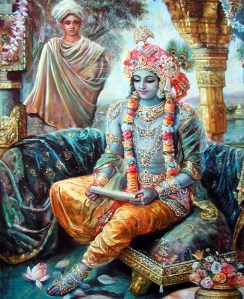 Krishna receiving Letter from Rukmini
